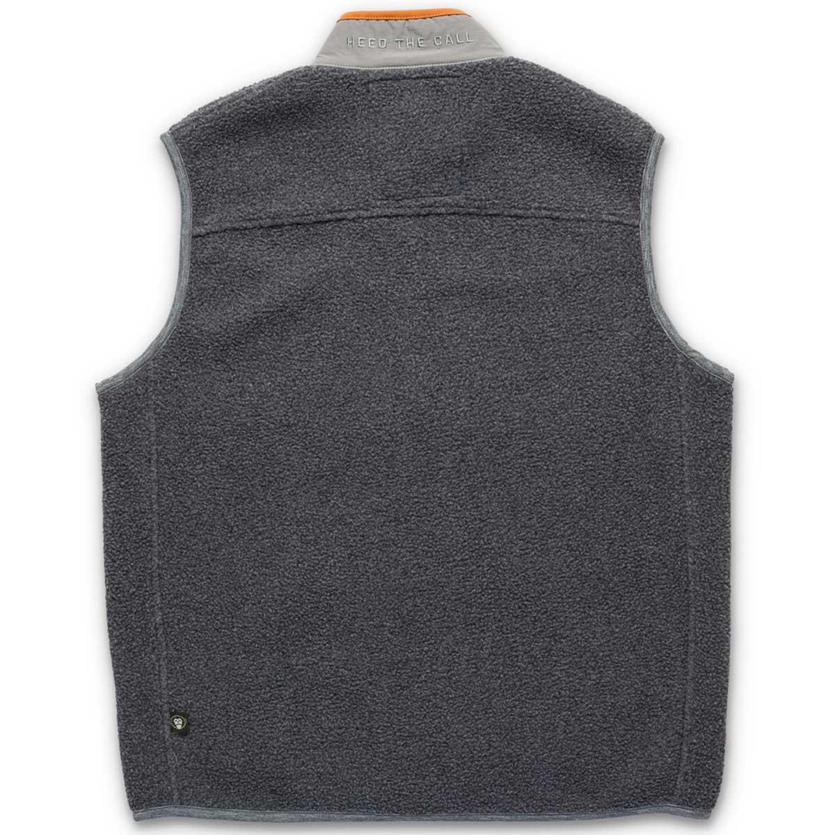 Back of Howler Bros Chisos Fleece Vest in mountain grey