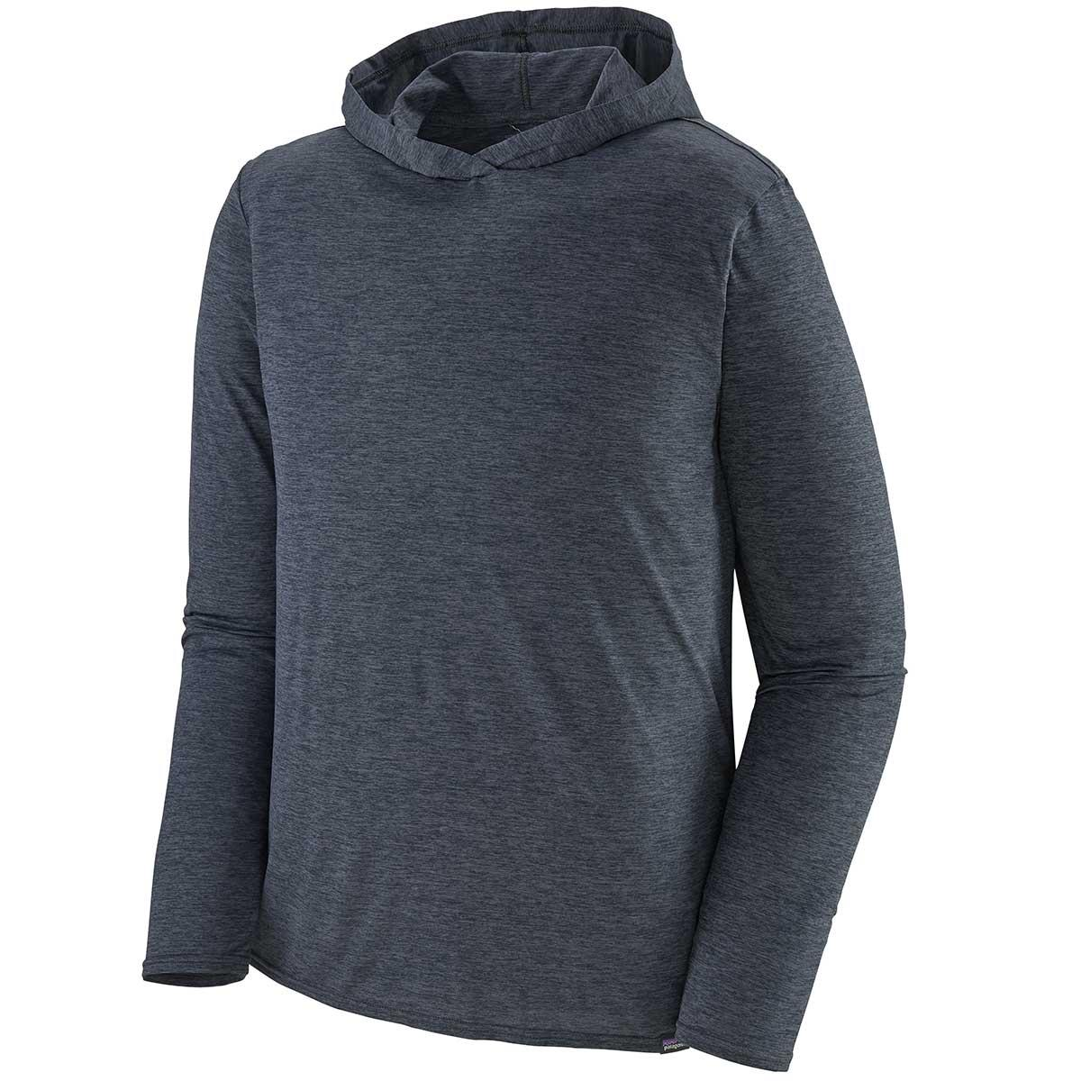 Patagonia men's Capilene Cool Daily Hoody in Smolder Blue and Light Blue X-Dye main view