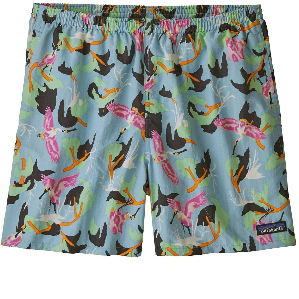 Patagonia men's Baggies 5in Shorts in Spoonbills and Big Sky Blue front view