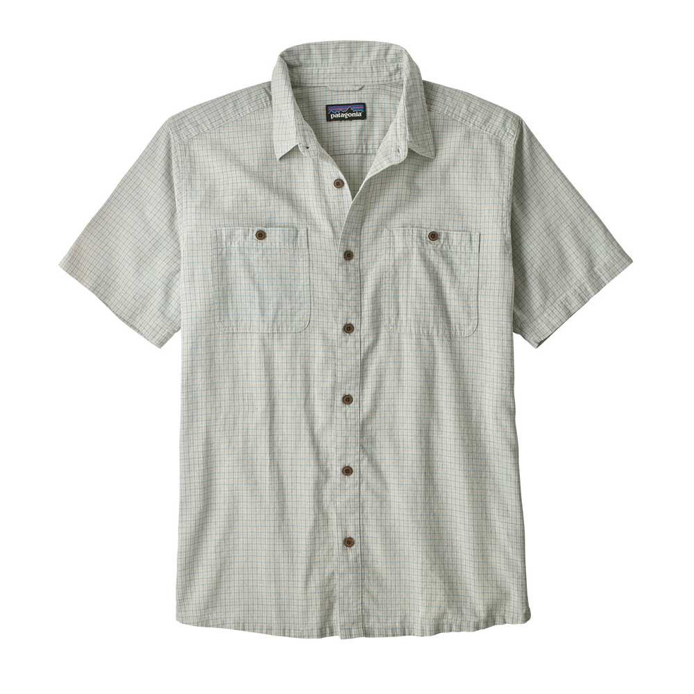 Patagonia men's Back Up button-up short-sleeve shirt, in Owens Atoll Blue, or off-white with a light blue grid pattern