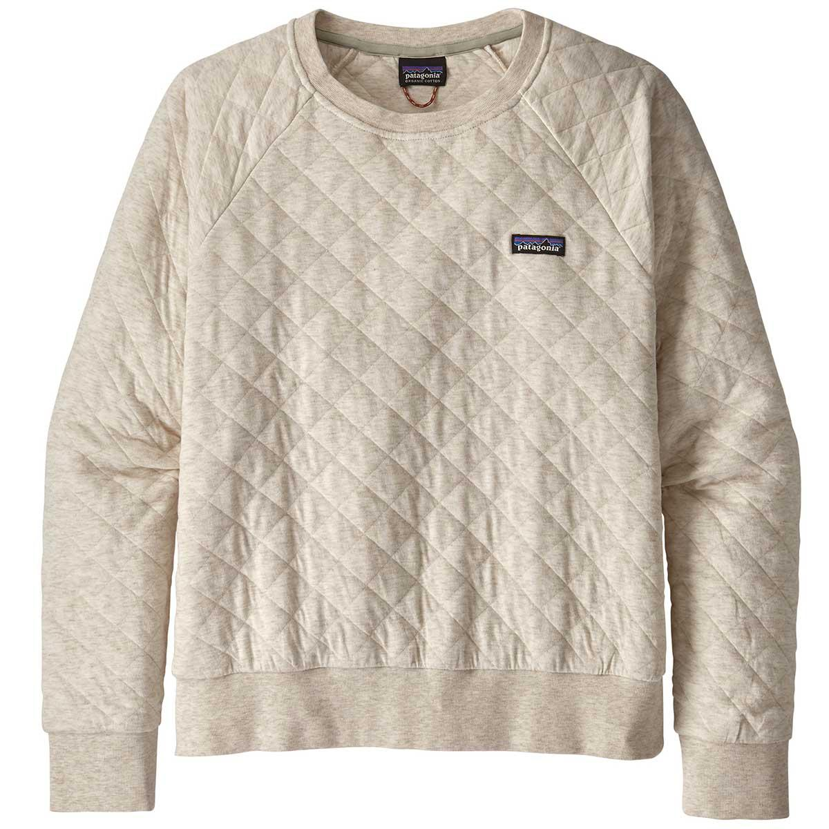 Patagonia women's Cotton Quilt Crew in Dyno White front view
