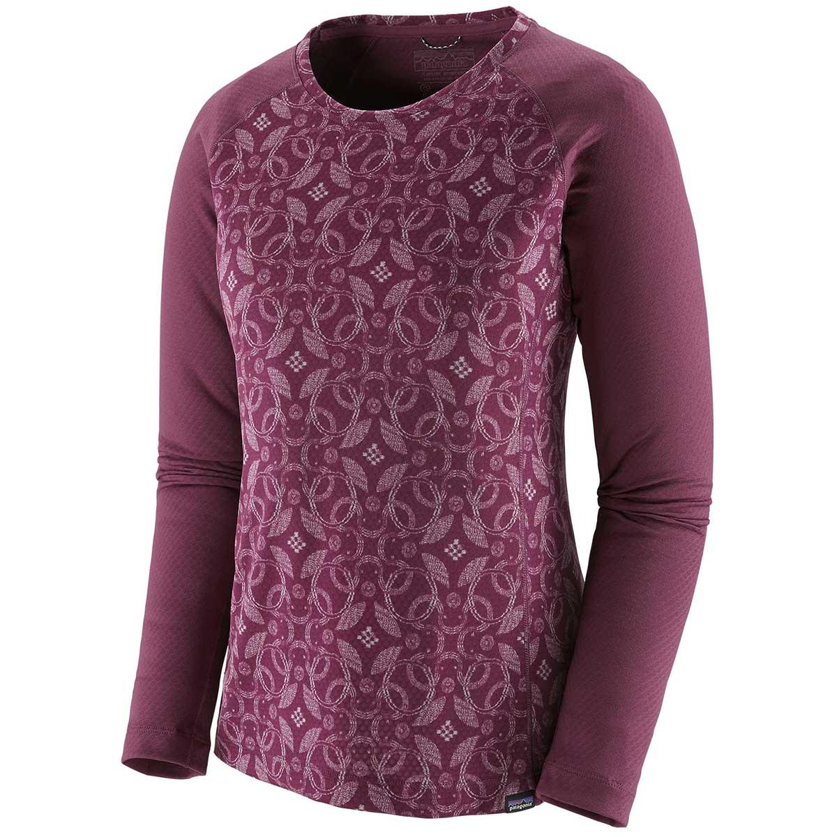 Patagonia women's Capilene Midweight Crew in Arctic Ox Geo and Light Balsamic front view
