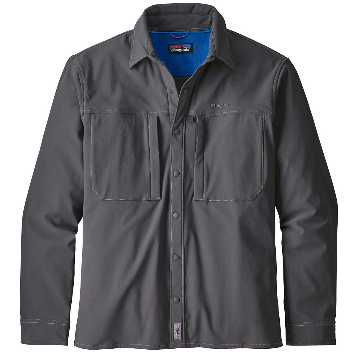 Patagonia men's Snap-Dry Long Sleeve Shirt in Forge Grey front view
