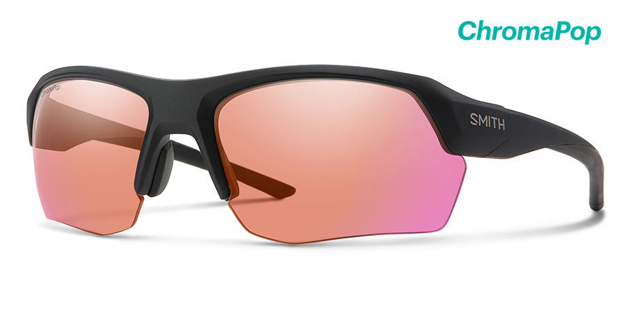Smith Tempo Sunglasses Chromapop in Matte Black with Contrast Rose Red Flash